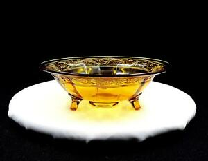 IMPERIAL-GLASS-FLORAL-OPTIC-PANEL-AMBER-9-1-8-034-3-TOED-BOWL