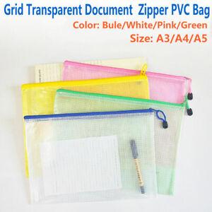 A3-A4-A5-Mesh-Dokumenten-Tasche-Taschen-Aktenhuelle-Aktenordner-Reissverschluss
