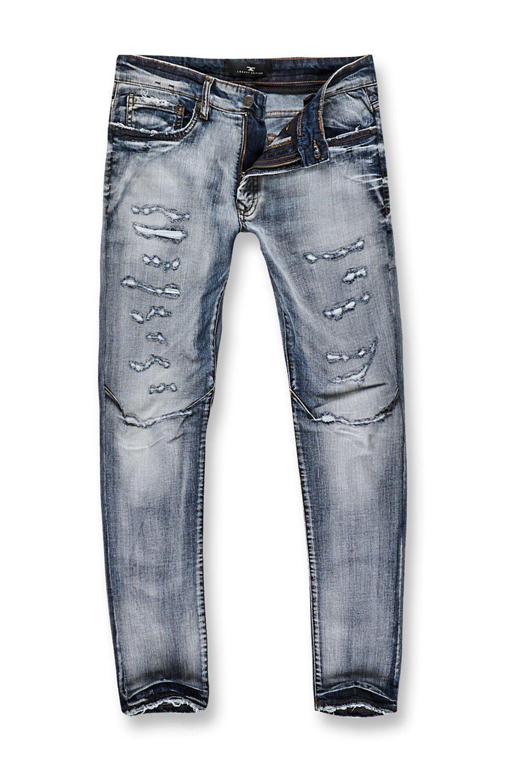 New Men's Jordan Craig Barcelona Denim Aged Wash Jean Destroyed Size 44x32