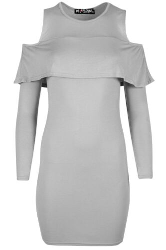 Womens Peplum Ruffle Frill Bodycon Ladies Cold Cut Shoulder Long Sleeve Dress