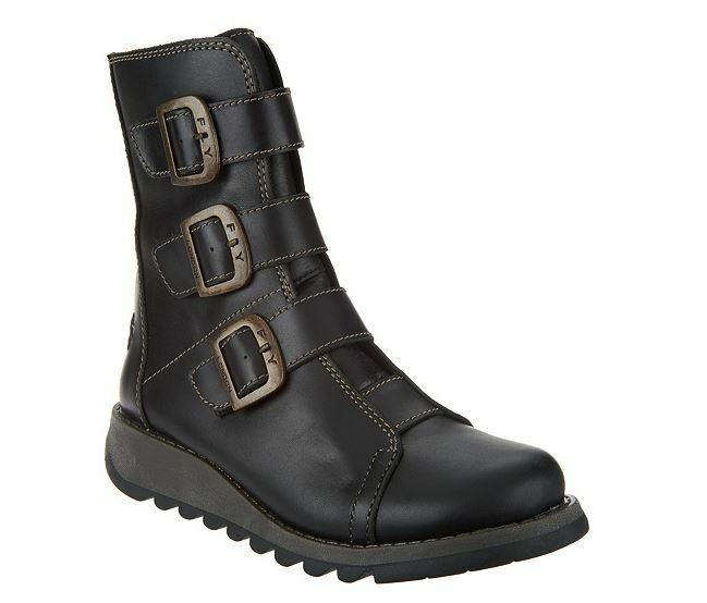 NEW FLY London Leather Ankle Boots ZIP Buckles SCOP BLACK 6 - 6.5 Euro 37