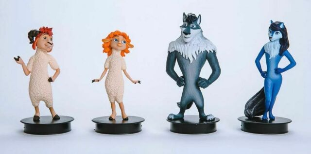 """4pc. Cartoon Character Set Collection Figure PROSTO Toys /""""Sheep /& Wolves/"""""""