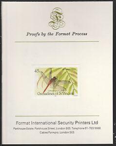 St Vincent (1401) - 1986 Dragonflies imperf on Format International PROOF CARD
