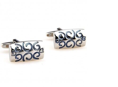 Frederick Thomas silver coloured cufflinks with light blue swirl design FT2845