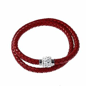 Frauen-Maenner-Armband-Manschette-Schnur-Leder-geflochten-Kristall-Ball-Geschenk