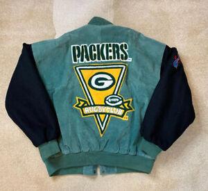Rare-Vintage-90s-DSJ-NFL-Green-Bay-Packers-Leather-Wool-Varsity-Jacket-Mens-XL