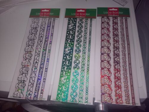 3X LACE BORDERS CHRISTMAS STICKERS FOR SCRAPBOOKING ETC SHEET IS 30X12 CM NEW