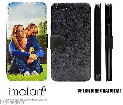 Cover iPhone 7 plus Custodia a libro personalizzata in ecopelle