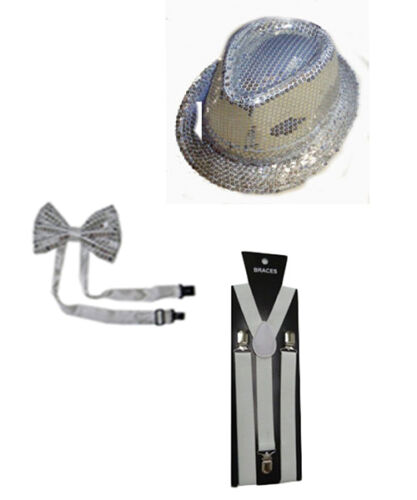 Dicky Dickie Sparkly Glitter Sequins Hat Bretelles Sequin Bow Tie Unisexe Adulte Set