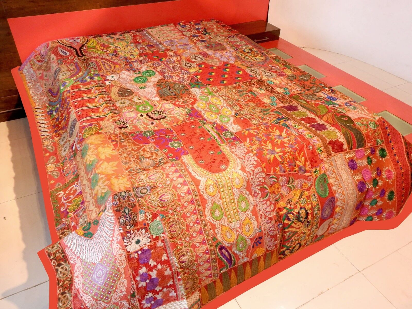 Vintage Patchwork Bedspread Hand Embroidery Bed Cover, Wall Hanging Curtain BS50
