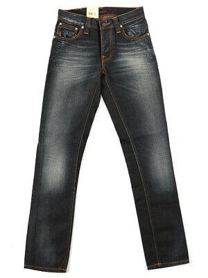 UnabhäNgig Nudie Unisex Damen Herren Slim Fit Jeans | Grim Tim Metallic Blue| W28 L32 GroßE Vielfalt