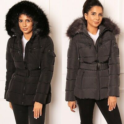 Details about Luxe Quilted Longline Hooded Puffer Coat with Faux Fur Trim & Belt Black Grey