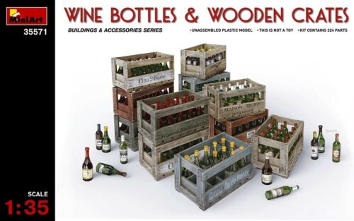 Wine Beer MIN35571 Miniart 1:35 Milk Bottles and Wooden Boxes