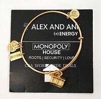 Alex And Ani Monopoly House Adjustable Rafaelian Gold Bangle Charm Bracelet