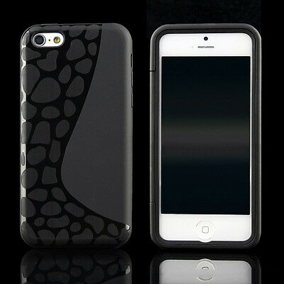 Slim Crystal Clear TPU Gel Silicone Flip Case Cover For iPhone 5c & SP