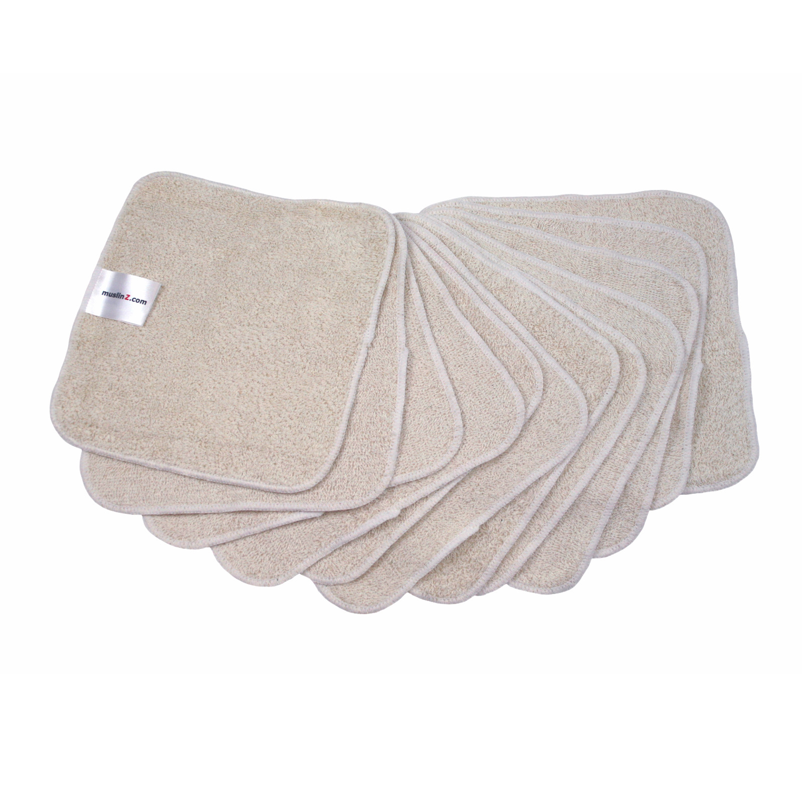 MuslinZ 12PK Washable Reusable Wipes 20x20cm Bamboo/Organic Cotton Unbleached