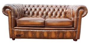 Brand-New-Chesterfield-2-Seater-Antique-Tan-Real-Leather-Sofa-Settee-Couch