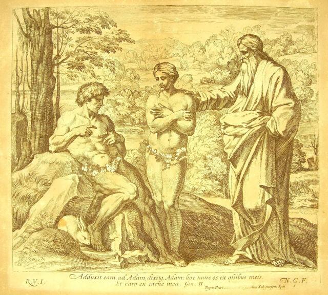 Dios creado La Femme La Biblia Nicolas Caperucita 1649 ap Raphaël Vaticano Adam