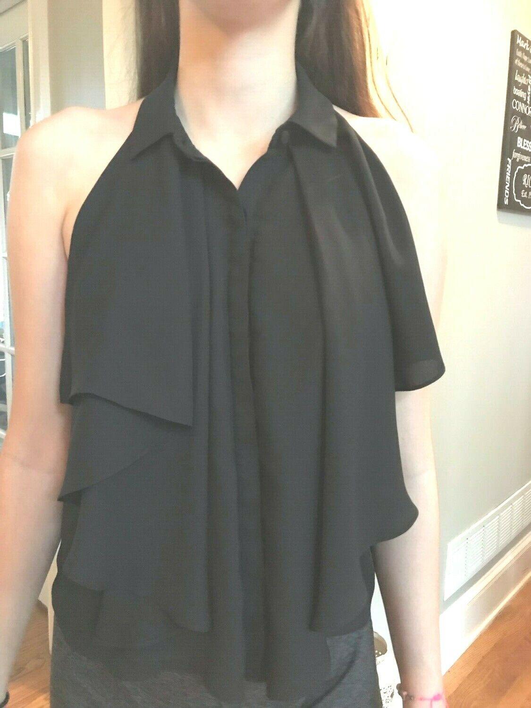 Perfect ALEXIS schwarz open back blouse top w halter style shirt collar sz M 4 6 8