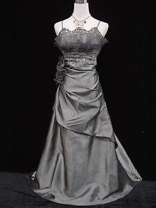 Cherlone Grey Ballgown Wedding Evening Bridesmaid Full Length Formal Dress 8