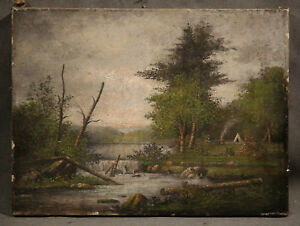 19th Century American Painting Indian Encampment With Tepee Tent Ebay
