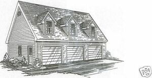 38x26 3 car triple front dormers garage building blueprint for Garage apartment plans ebay