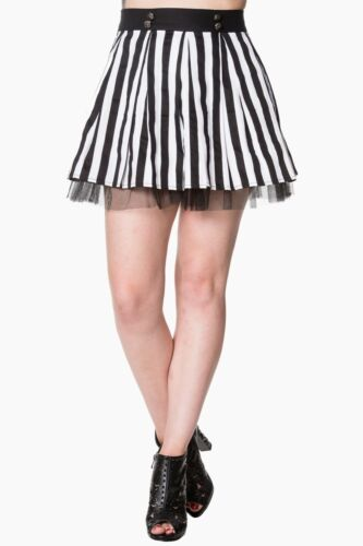Black White Stripes Emo Rockabilly Alternative Rock Mini Skirt By Banned Apparel