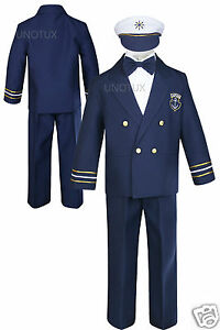 Baby-Boy-Toddler-Wedding-Formal-Party-Captain-Sailor-Suit-Outfits-sz-0-7-Years