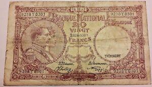 20 Francs 1941 Belgique 20 Frank Belgïe 1941 Banknote Belgium