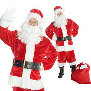 1976bec773b48 Mens Deluxe Plush Santa Claus Suit 7 Piece Father Christmas Fancy ...