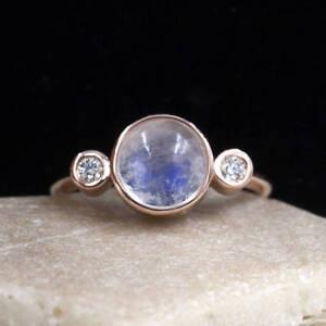8mm Natural Moon Stone Engagement Ring Diamond Bezel Setting 14K