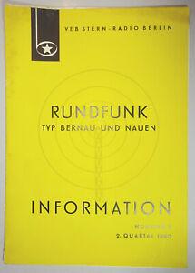 Information Nr.7 1960 Rundfunk Typ Bernau und Nauen DDR !  (D9