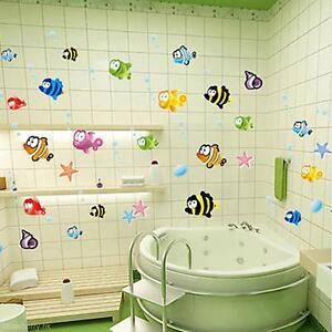 cute cartoon fishes wall sticker bathroom baby room. Black Bedroom Furniture Sets. Home Design Ideas