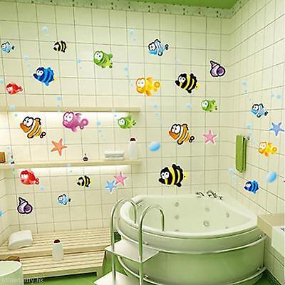 Cute Cartoon Fishes Wall Sticker Bathroom Baby Room Nursery Kids Decor Decal