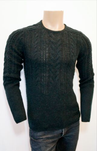 Varvatos Charcoal Girocollo 225 00 Soft John Maglione Wool £ Knit Rrp Cable pq5YdHF
