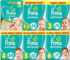 Pampers Prima Baby Dry Nappies Size 1,2,3,4,5,6,7 Pack of Nappies diapers pamper