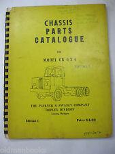 Gradall Gr 6 X 4 Duplex Chassis Parts Catalog Manual Warner Swasey