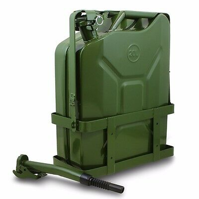 Jerry Gas Can Fuel Tank w/ Holder Steel 5 Gallon 20L Nato Style Military Green