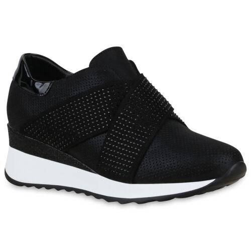 Damen Sneaker Wedges Strass Keilabsatz Schuhe Glitzer Turnschuhe 830041 Trendy