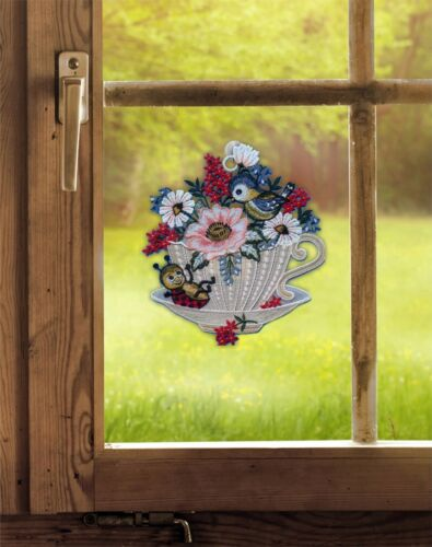 Fensterhänger Frühlingsgeflüster Plauener Spitze Frühlingsdeko