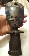 "African Fertility God Figure Carved Wood Statue Fine Native Folk Art 9 1/2"""