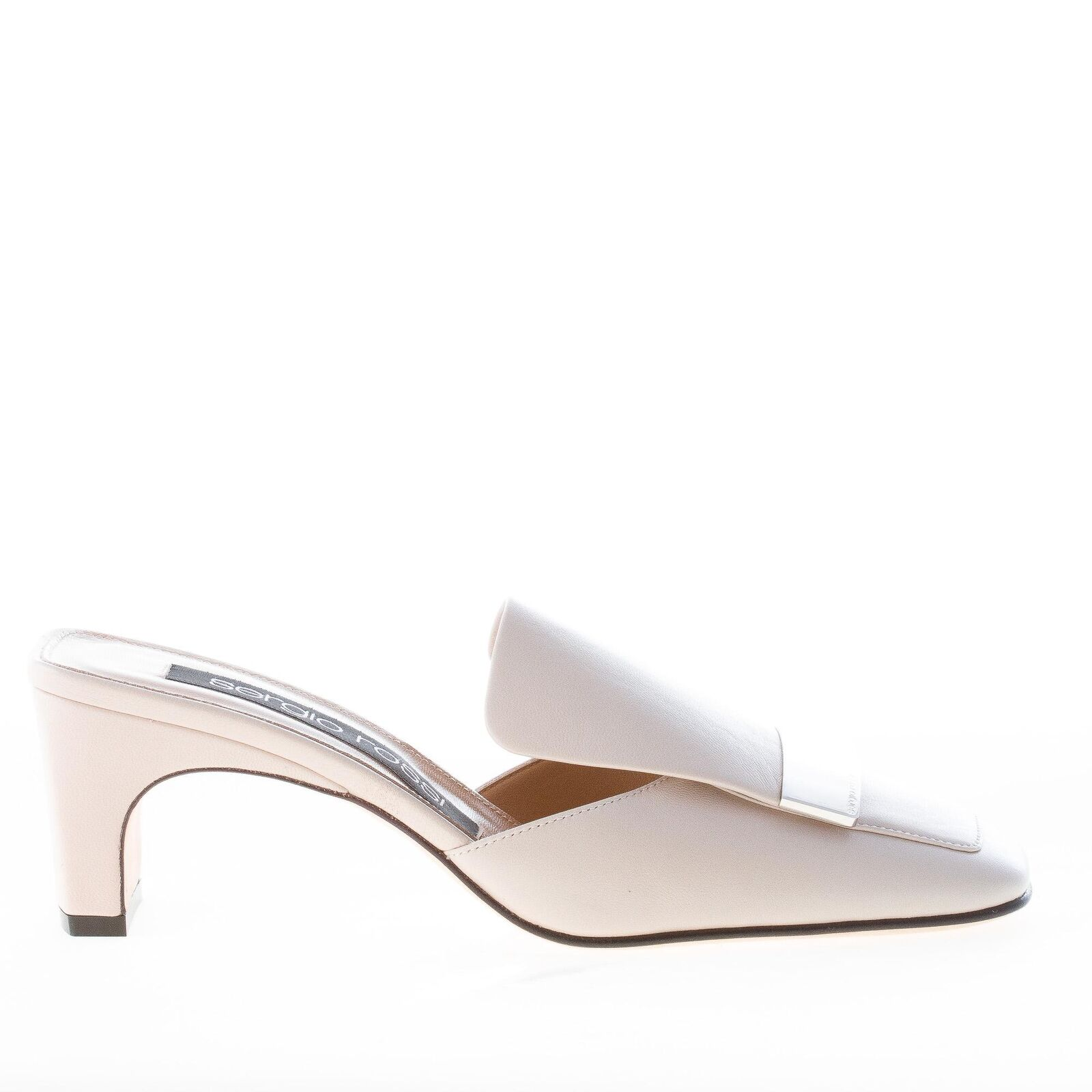 SERGIO ROSSI shoes femme women shoes Ivory leather mule silver-tone plaque