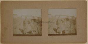 Il Giardino La Figlio Amateur Francia Foto Stereo Vintage Citrato c1900