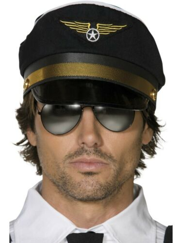 Pilots Cap Adult Mens Smiffys Fancy Dress Costume Hat