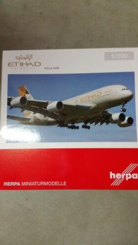 Herpa 557092-001 1//200 airbus a380-ethiad Airways-nuevo