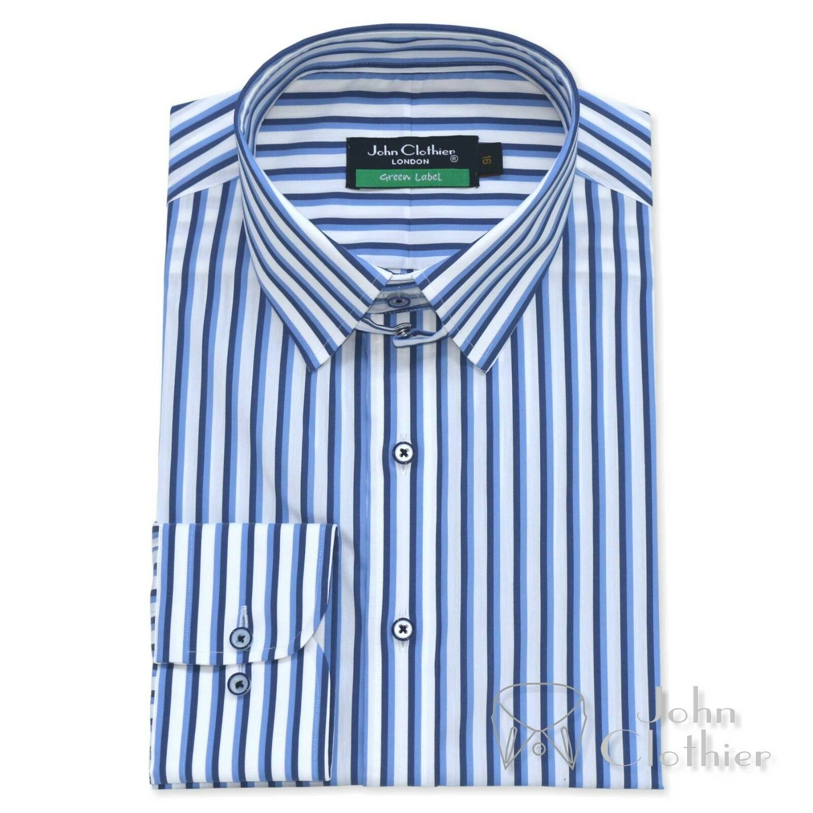 NEU Herren Baumwollhemd Tab Kragen blau schwarze Streifen Schlaufe James Bond