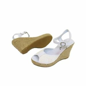 a5e4d643a23 Image is loading Ladies-White-Lace-Fabric-Ankle-Strap-Wedge-Espadrilles-