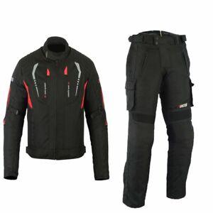 Herren-Motorrad-Textil-Jacke-und-Hose-Motorrad-Textil-Kombi-Schwarz-Gr-S-5XL