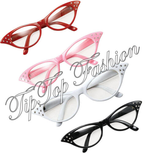 New Ladies1950s Black White Pink /& Red Flyaway Glasses Granny Specs Fancy Dress
