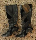 Gorgeous Ladies Leather Patchwork Black RMK Jude Pointy Toe Knee High Boots 9.5